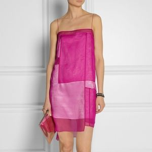 Helmut Lang Chintzed Silk Organza Slip Dress